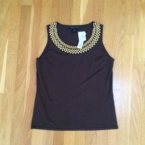 August Silk Petite Gold Bead Embellished Knit Tank